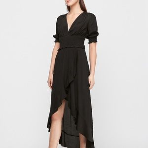 Smocked waist ruffle hi-lo midi dress BNWT